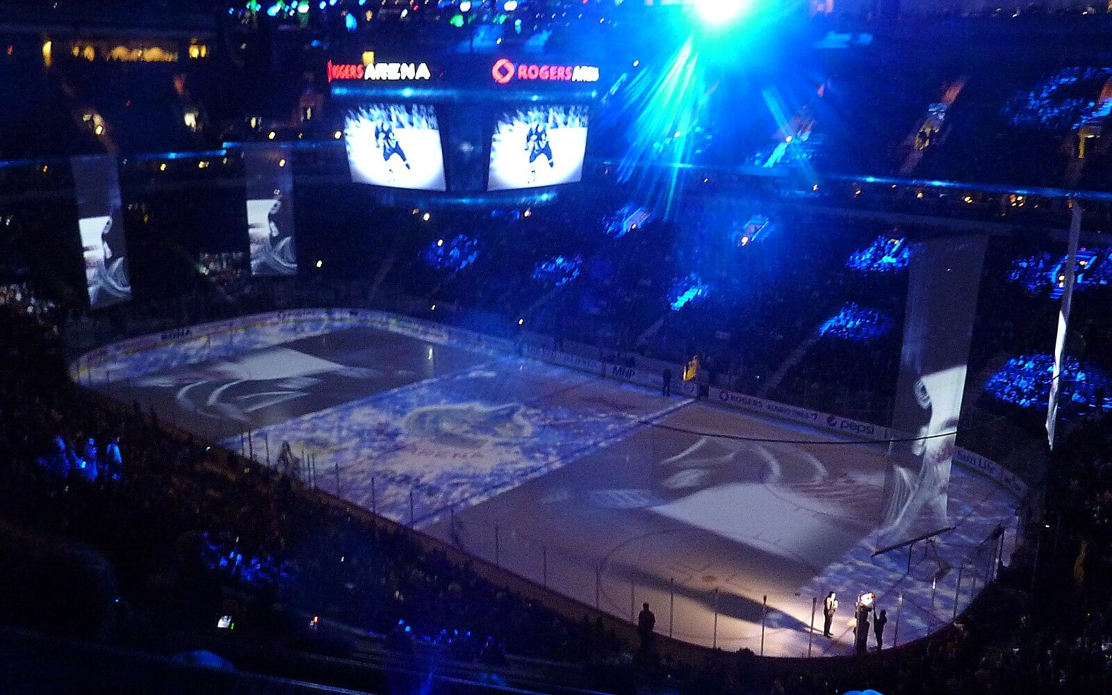 the vancouver canucks take the ice in rogers arena