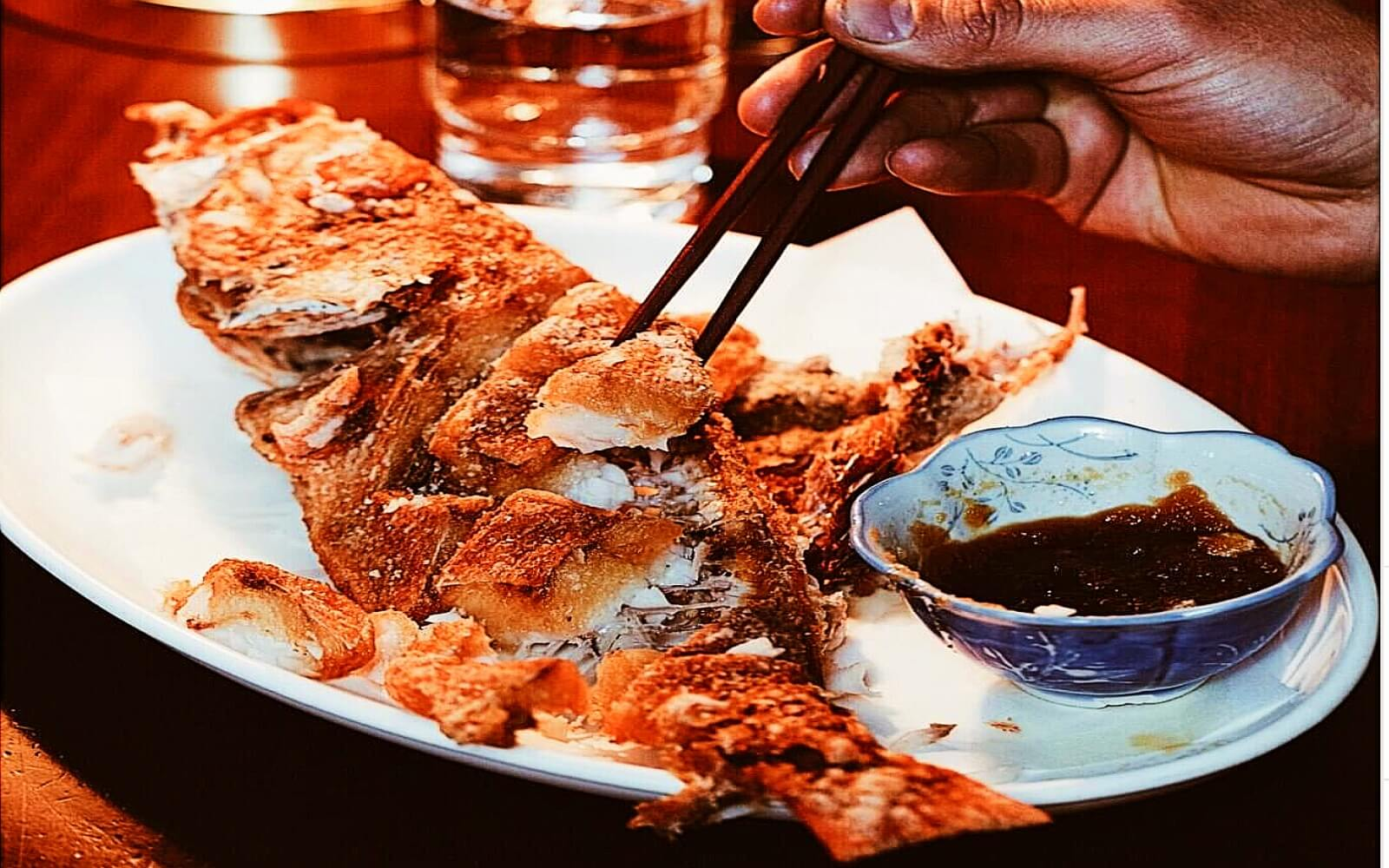 Tempura battered whole fish at Kissa Tanto
