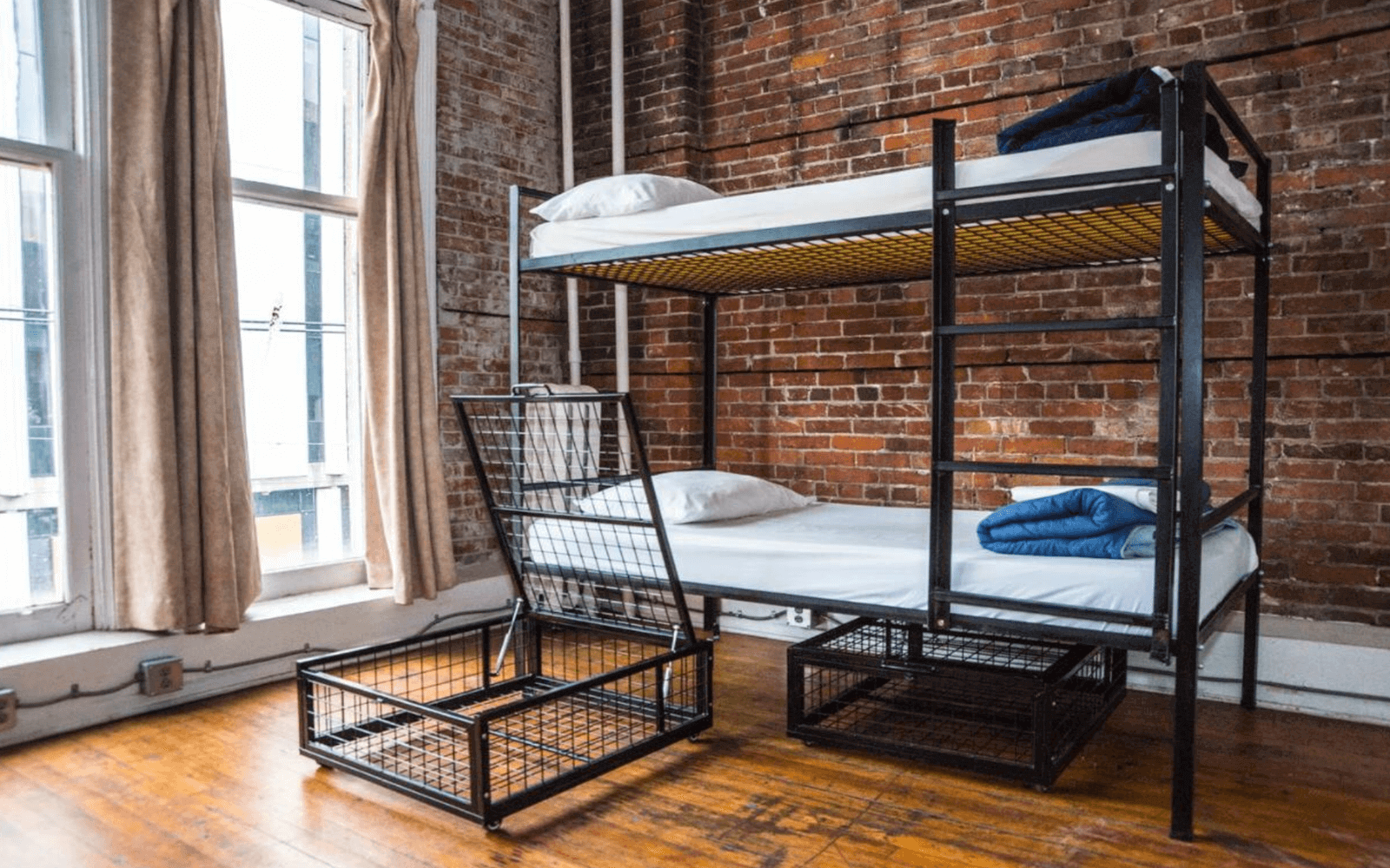 Dorm beds at the Cambie Gastown