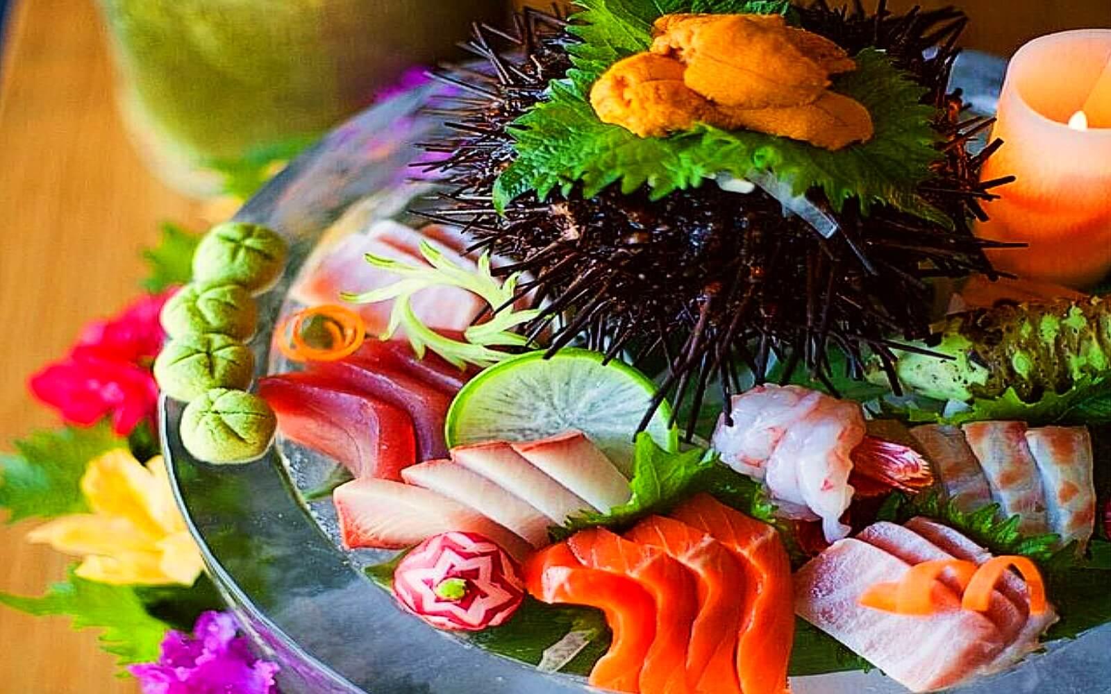 A sashimi platter at Tojo's